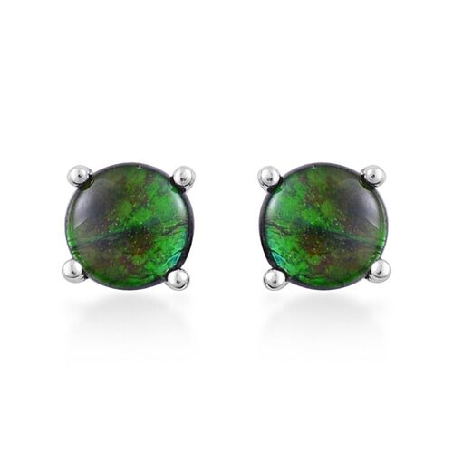 Canadian Ammolite (Rnd) Stud Earrings (with Push Back) in Platinum Overlay Sterling Silver 1.500 Ct.