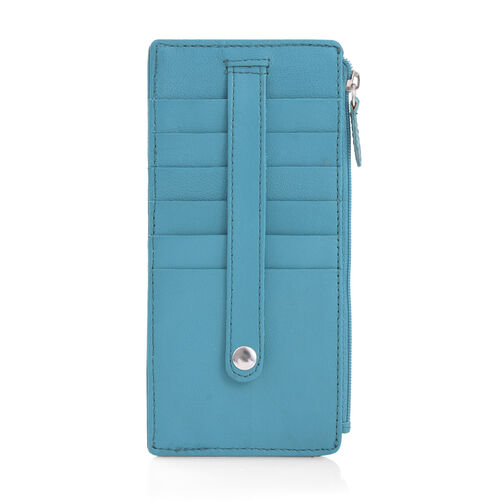 Genuine Leather RFID Blocker Teal Blue Colour Ladies Wallet (Size 17x8 Cm)