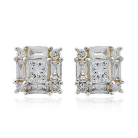ILIANA 18K Yellow Gold IGI Certified Diamond (Princess Cut) (SI/G-H) Earrings (with Screw Back) 1.000 Ct.