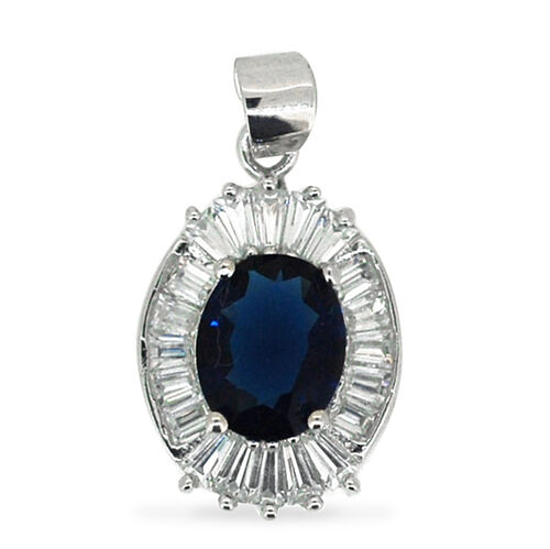 AAA Simulated Ceylon Sapphire (Ovl), Simulated Diamond Pendant in Rhodium Plated Sterling Silver
