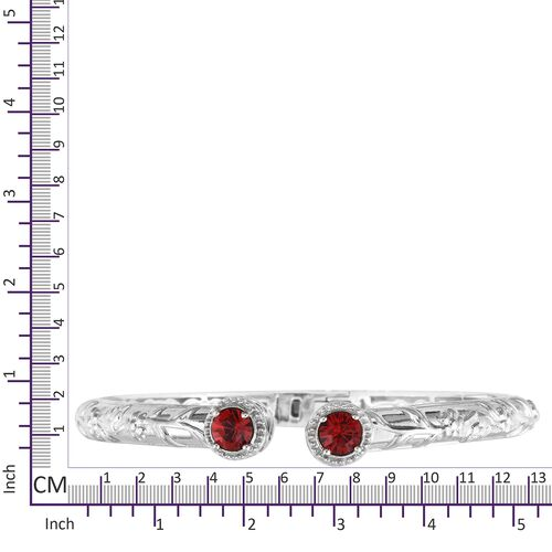 J Francis Crystal from Swarovski - Light Siam Crystal (Rnd) Bangle (Size 7.5) and Stud Earrings (with Push Back) Platinum Plated