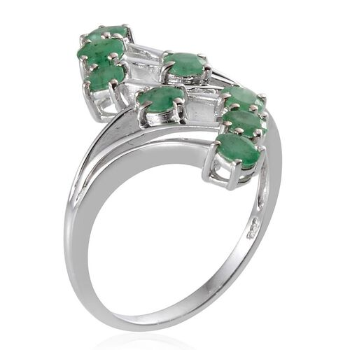 Kagem Zambian Emerald (Ovl) Crossover Ring in Platinum Overlay Sterling Silver 1.000 Ct.