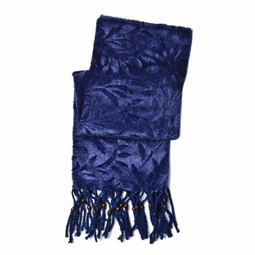 Designer Inspired - Blue Leaf Pattern Velvet Wrap with Wooden Beads Adorned Tassels (Size 160X50 Cm)