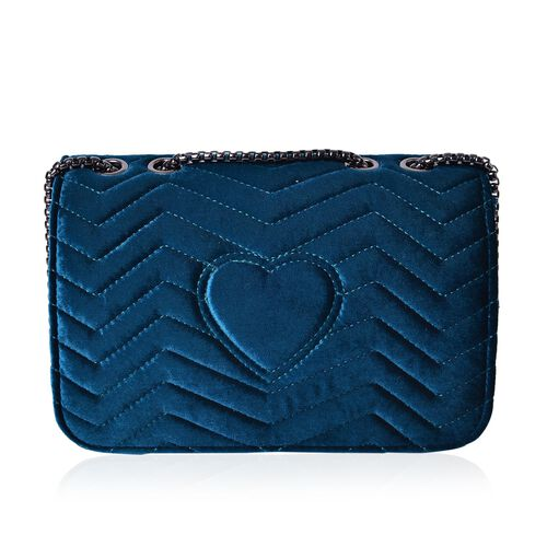 Midnight Blue Velvet Zigzag Pattern Crossbody Bag with Chain Strap (Size 23X15.5X7.7 Cm)