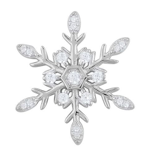 ELANZA AAA Simulated White Diamond (Rnd) Snowflake Pendant in Rhodium Plated Sterling Silver