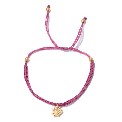 Yellow Gold Overlay Sterling Silver Adjustable Bracelet (Size 6.5 to 8.5) with Lotus Charm