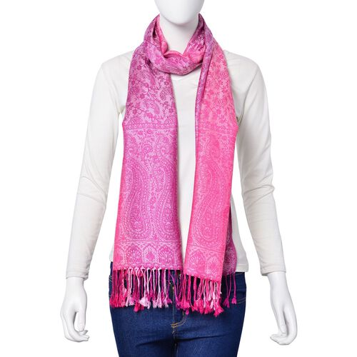 Purple and Light Pink Colour Paisley Pattern Scarf with Tassels (Size 180X65 Cm)