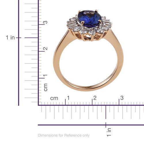 ILIANA 18K Yellow Gold 2.50 Carat AAA Tanzanite Oval Halo Ring, Diamond SI G-H.