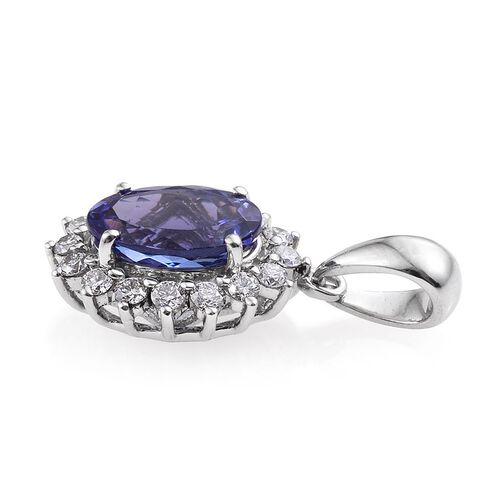RHAPSODY 950 Platinum 2 Carat AAAA Tanzanite Oval Halo Pendant, Diamond VS E-F.