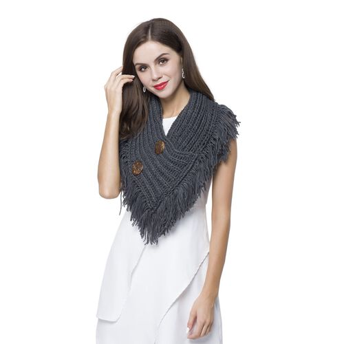 Dark Grey Colour Infinity Scarf with Ornament Buttons and Tassels (Size 40X20 Cm)