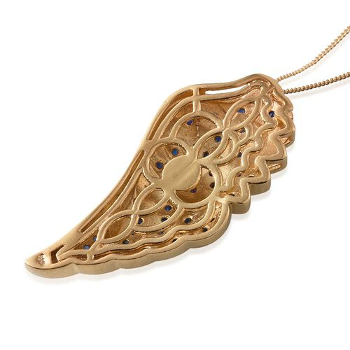 Kanchanaburi Blue Sapphire (Rnd) Angel Wing Pendant With Chain in 14K Gold Overlay Sterling Silver 1.250 Ct.