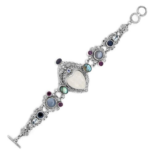 Princess Bali Collection OX Bone Carved Face (Ovl 8.42 Ct), Grey Moonstone, Labradorite, Boi Ploi Black Spinel and Multi Gemstone Bracelet (Size 8 with Extender) in Sterling Silver 28.420 Ct.