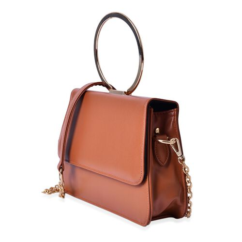 Eddie Chocolate Colour Tote Bag with Shoulder Strap (Size 26x17x6 Cm)