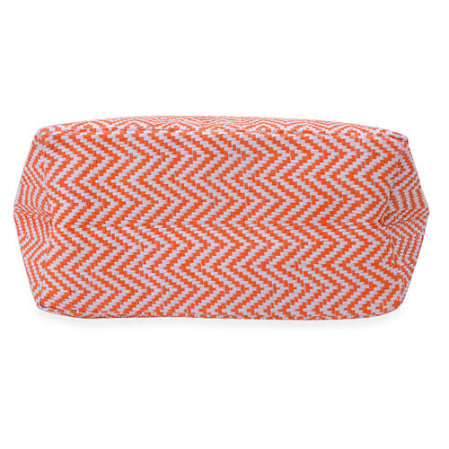 Orange and White Zigzag Pattern Tote Bag (Size 50x38x17 Cm)