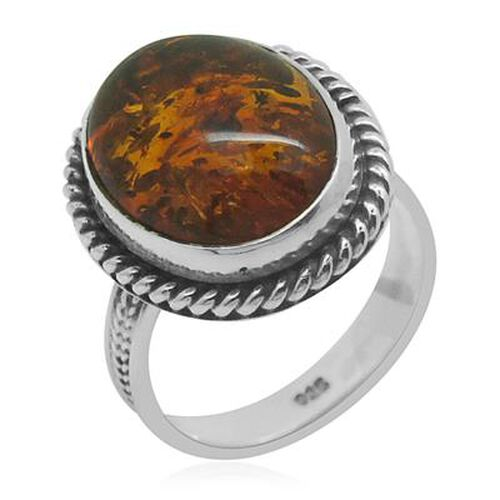 Royal Bali Collection Baltic Amber (Ovl) Solitaire Ring in Sterling Silver 3.430 Ct.