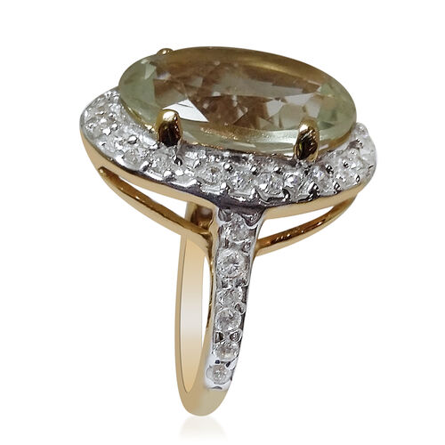 Green Amethyst (Ovl 9.50 Ct), Simulated White Diamond Ring in 14K Gold Overlay Sterling Silver 11.300 Ct.