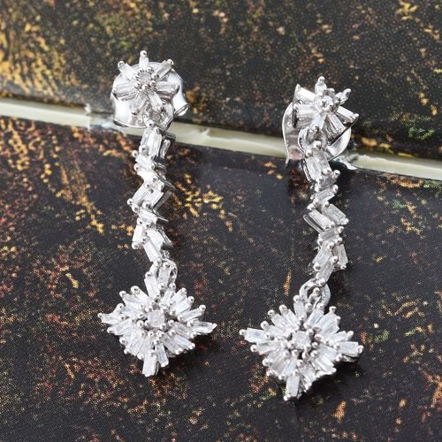 Diamond (Rnd) Earrings (with Push Back) in Platinum Overlay Sterling Silver 0.500 Ct.