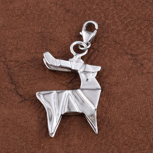 Origami Reindeer Silver Charm Pendant in Platinum Overlay, Silver wt 5.42 Gms.