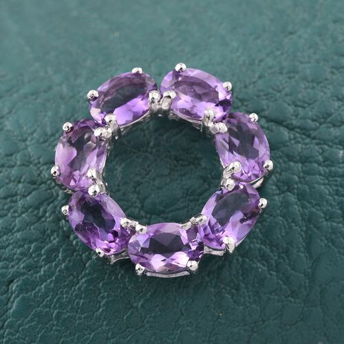 Amethyst (Ovl) Circle of Life Pendant in Platinum Overlay Sterling Silver 2.750 Ct.