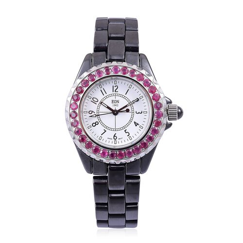 EON 1962 SWISS MOVEMENT African Ruby (3.11 Ct) Black HighTech Ceramic Sapphire Glass Watch (No of Stones 31 Pcs)