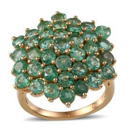 Kagem Zambian Emerald (Rnd) Cluster Ring in 14K Gold Overlay Sterling Silver 6.500 Ct.