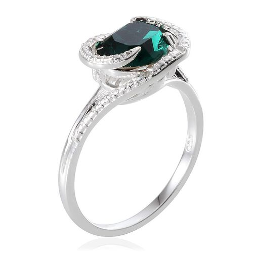 Crystal from Swarovski - Emerald Colour Crystal (Ovl 2.50 Ct), Diamond Ring in Sterling Silver 2.510 Ct.