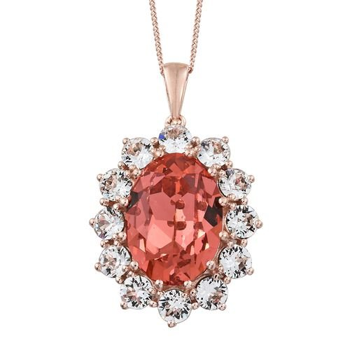 J Francis Crystal from Swarovski - Padparadscha Colour Crystal (Ovl 18x13 mm), White Crystal (Rnd 4.5 mm) Pendant with Chain (Size 30) in Rose Gold Overlay Sterling Silver, Silver wt. 9.50 Gms.