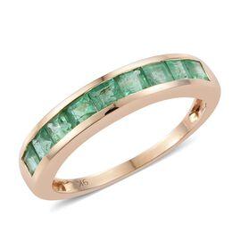 9K Yellow Gold AA Kagem Zambian Emerald (Sqr Princess) Half Eternity Band Ring 1.250 Ct.