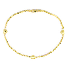 Designer Inspired - 9K Yellow Gold Rope with Heart Charm Bracelet (Size 8)
