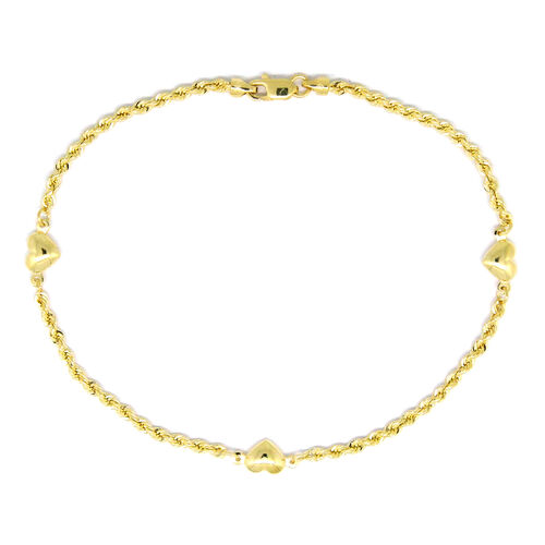 Designer Inspired - 9K Y Gold Rope with Heart Charm Bracelet (Size 8)
