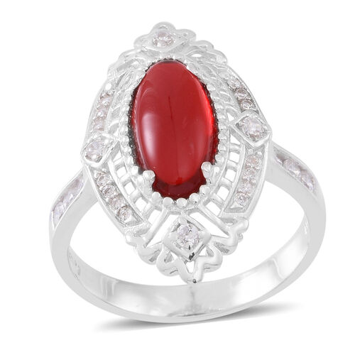 ELANZA AAA Simulated Ruby (Ovl), Simulated White Diamond Ring in Rhodium Plated Sterling Silver
