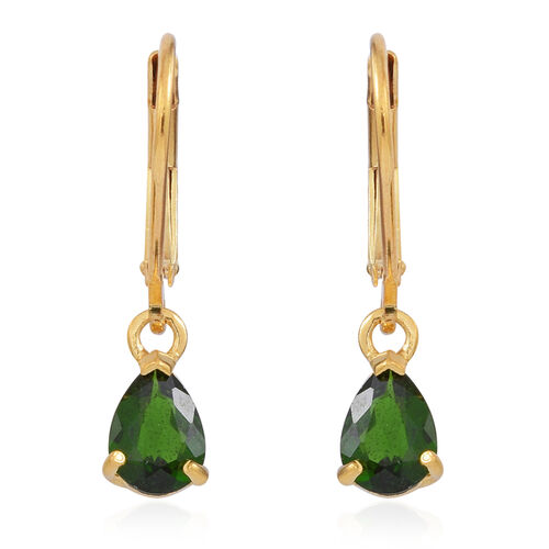 Russian Diopsode (Pear) Lever Back Earrings in 14K Gold Overlay Sterling Silver 1.500 Ct.
