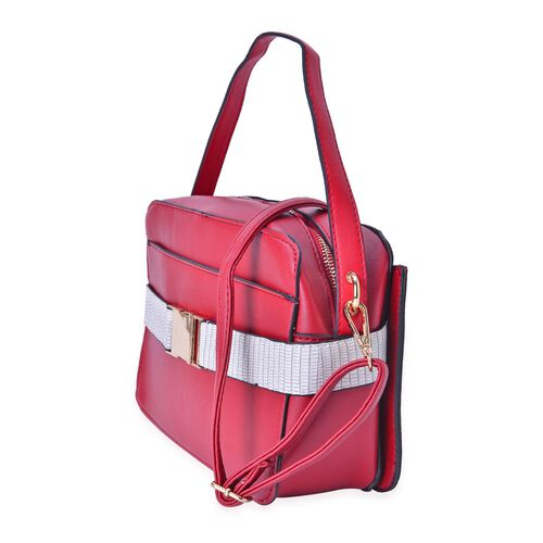 Red and White Colour Crossbody Bag with Adjustable and Removeable Shoulder Strap (Size 25x17x7.5 Cm)