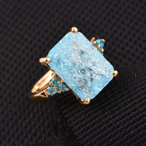 Paraiba Blue Crackled Quartz (Oct), Neon Apatite Ring in 14K Gold Overlay Sterling Silver 6.750 Ct.