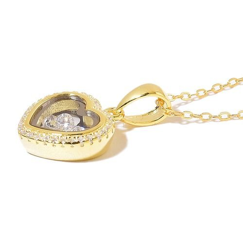 ELANZA AAA Simulated White Diamond Heart Pendant With Chain in 14K Gold Overlay Sterling Silver