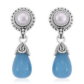 Royal Bali Collection Blue Agate and Fresh Water Pearl Earrings (with Push Back) in Sterling Silver 20.390 Ct. Silver wt 5.73 Gms.