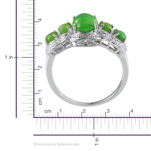 Green Ethiopian Opal (Ovl 1.25 Ct), Diamond Ring in Platinum Overlay Sterling Silver 2.010 Ct.
