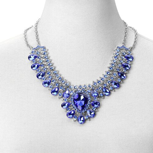 Simulated Tanzanite and Blue Austrian Crystal BIB Necklace (Size 19 with 2 inch Extender) in Silver Tone