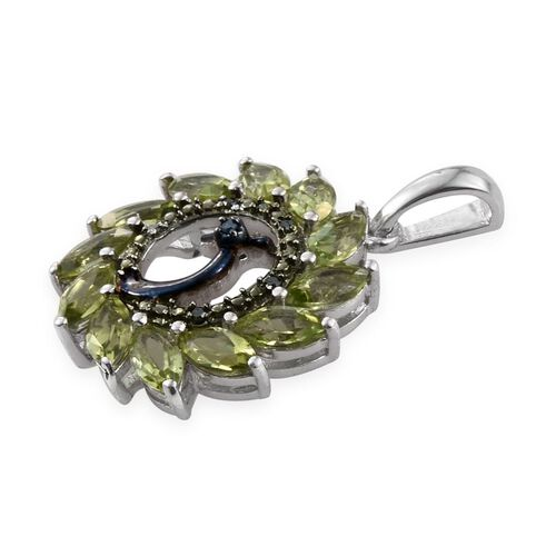 AA Hebei Peridot (Mrq), Blue and Green Diamond Peacock Pendant in Platinum Overlay Sterling Silver 3.250 Ct.