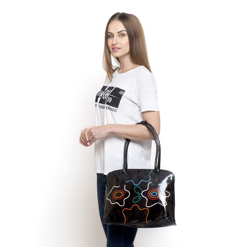 Genuine Vegan Leather Red, White, Green and Multi Colour Handpainted Shoulder Bag (Size 38x30x10 Cm)
