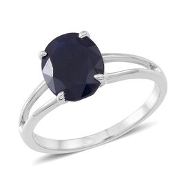 9K W Gold AAA Madagascar Blue Sapphire (Ovl) Solitaire Ring 3.500 Ct.