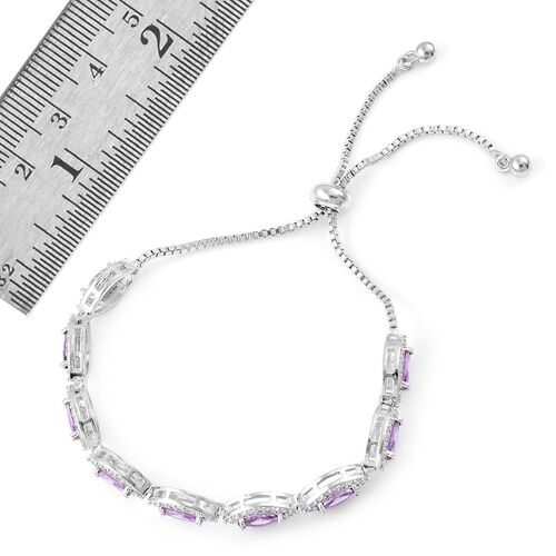AAA Simulated Purple Sapphire and Simulated White Diamond Adjustable Bracelet (Size 6.5-9) in Silver Tone