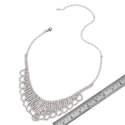 (Option 2) AAA White Austrian Crystal Necklace (Size 17 with 5 inch Extender) and Earrings (with Push Back) in Silver Tone