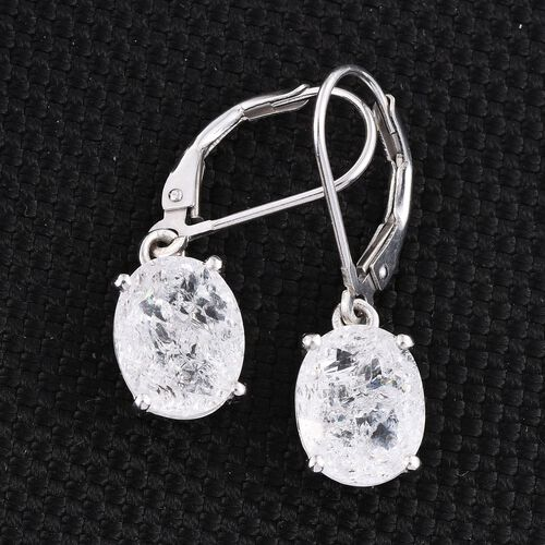 Diamond Crackled Quartz (Ovl) Lever Back Earrings in Platinum Overlay Sterling Silver 5.000 Ct.