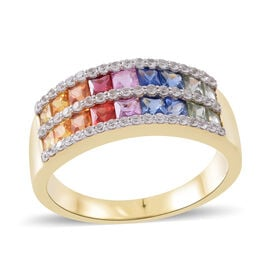 9K Yellow Gold Signature Collection AAA Rainbow Sapphire (Sqr), Natural White Cambodian Zircon Band Ring 3.500 Ct. Gold wt 5.00 Gms.