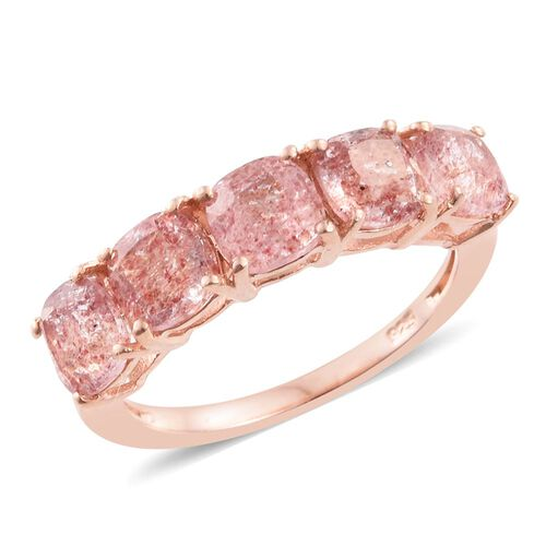 Pink Lapido Natural Quartz (Cush) 5 Stone Ring in Rose Gold Overlay Sterling Silver 2.750 Ct.