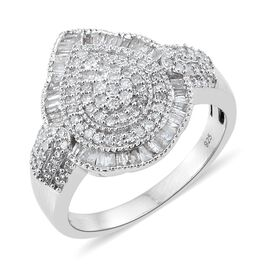 Diamond (Rnd) Ring in Platinum Overlay Sterling Silver 0.950 Ct. Silver wt 5.41 Gms. Number of Diamonds 145