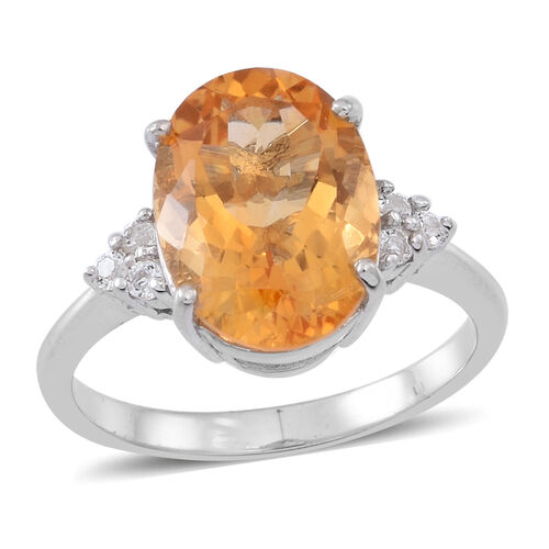 Citrine (Ovl 5.00 Ct), White Topaz Ring in Rhodium Plated Sterling Silver 5.250 Ct.