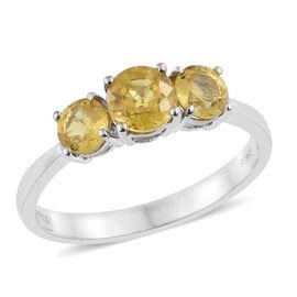 Collectors Edition - RHAPSODY 950 Platinum AAAA Chanthaburi Yellow Sapphire (Rnd 1.00 Ct) 3 Stone Ring 2.000 Ct., Platinum Wt. 4.00 Gram