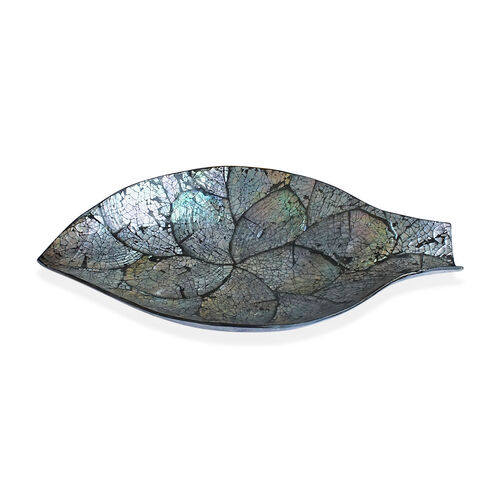 Leaf Shape Bowl Shell Inlay in Black Resin (Size 34x19 Cm)